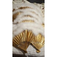 23 Japanese Chinese Paper Fans With Feather Trim.