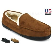 Mens Womens Slip On Fleece Lined Warm Suede Moccasin Slippers Shoes House Unisex