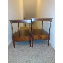 Pair of Vintage Weiman tables Mahogany with leather top