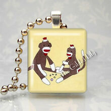 SOCK MONKEY CLASSIC CHILDRENS ANIMAL TOY Scrabble Tile Art Pendant Jewelry Charm