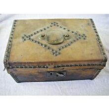 Mid 1800s Document Ditty Box Leather Tack Button Decorated VR Lock Mark Civil Wa