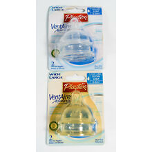 2pks Playtex VentAire Silicone Nipples BPA Free 0-3M+ WIDE - SLOW FLOW = 4