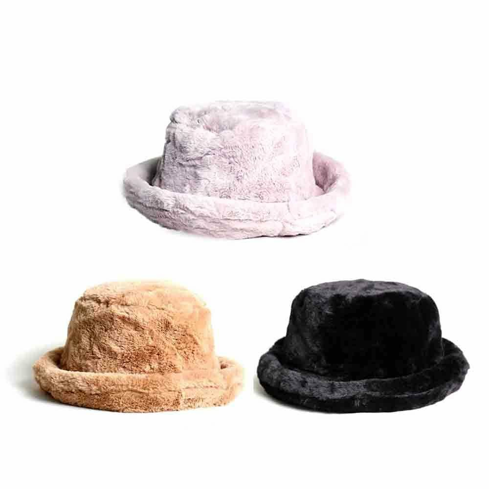 26a3d013cd9 Details about Women Fur Bucket Hat Boonie Bowler Hat Hunting Fishing Fisher  Vintage Casual IN9