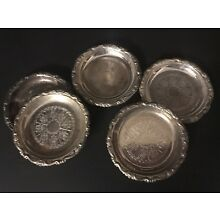 VINTAGE EMBOSSED SILVER PLATED EP ON STEEL COASTERS set 6 pc MADE IN ITALY