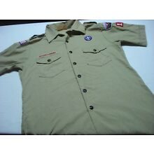 BOY SCOUTS OF AMERICA TAN KHAKI UNIFORM SHIRT SIZE MEN'S M AS IS WITH PATCHES