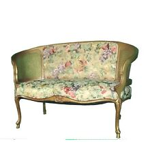 Vintage French Provincial Gold Floral Cane Settee with Curved Arms