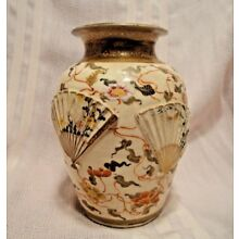 Beautiful Antique Japanese Satsuma Earthenware Fan Vase 19th Century