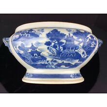 Antique Large 19th Century NANKING Blue & White Footed Soup Tureen