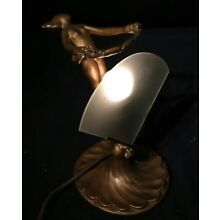 Vtg Art Deco Chandler ll or  Nude Lady Lamp Spelter W/ Fan Bronze