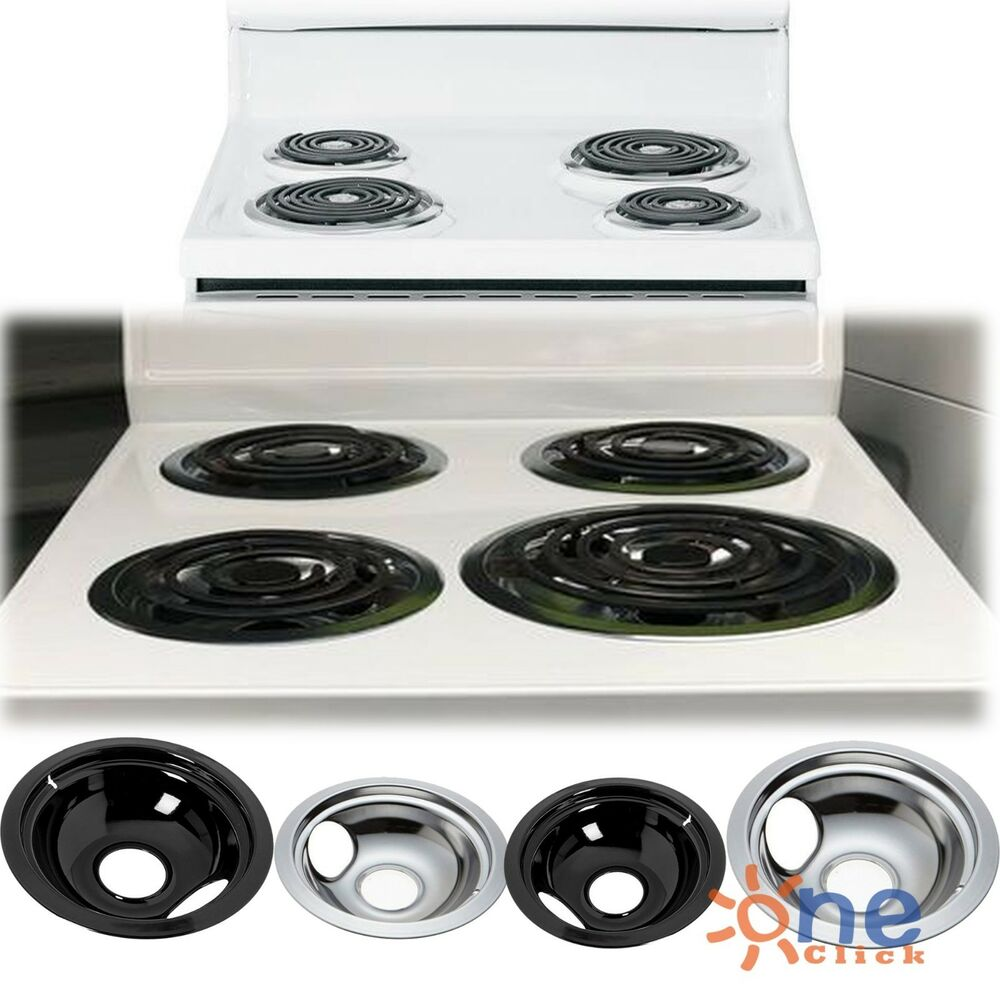 Details About Ge Hotpoint Chrome Stove Drip Pans Electric Burner Covers 4 Top Replacement Set