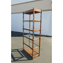 Vintage Mid-Century Modern Five Tier Wood Glass Shelf BOOKCASE Bookshelf w Light