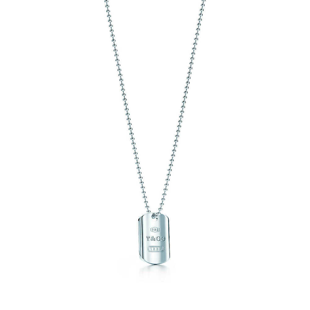 fa65157b6 Details about Tiffany & Co. Sterling Silver 1837 Dog Tag Pendant on a 20