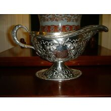 Large American Sterling Silver Repousse Gravy Boat Shultz 1899