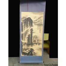 Vintage Original Signed Scroll Painting ~ Japanese Mountains & Fishing Boats