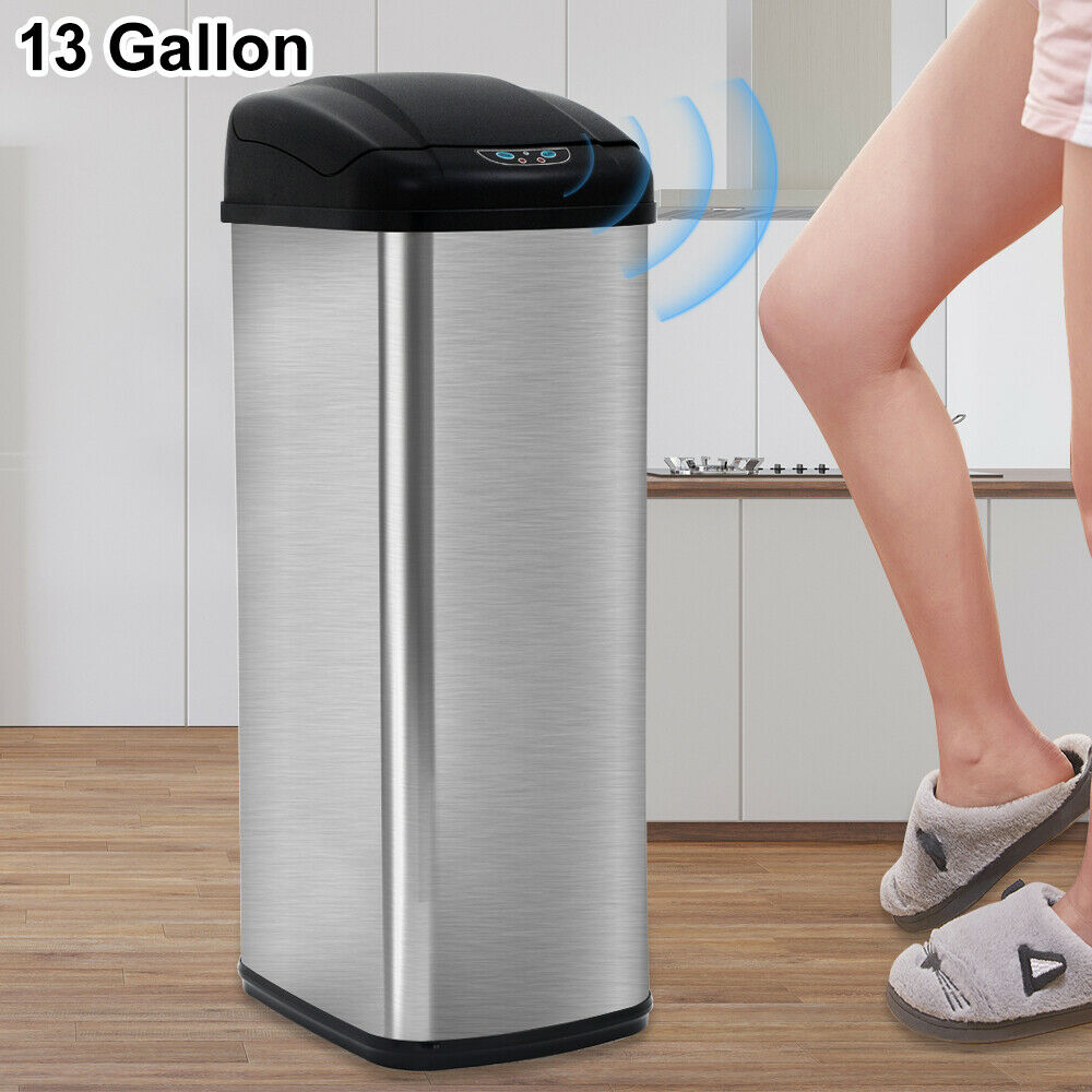 Details About 13 Gallon Touch Free Sensor Automatic Stainless Steel Trash Can Kitchen Office