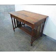 Vintage French Country Plank Writing DESK w Cane Sides Rustic Farmhouse