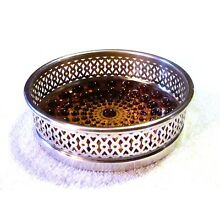 Rare Webster Silver Plate & Hobnail Amber Glass Wine Coaster EBTH