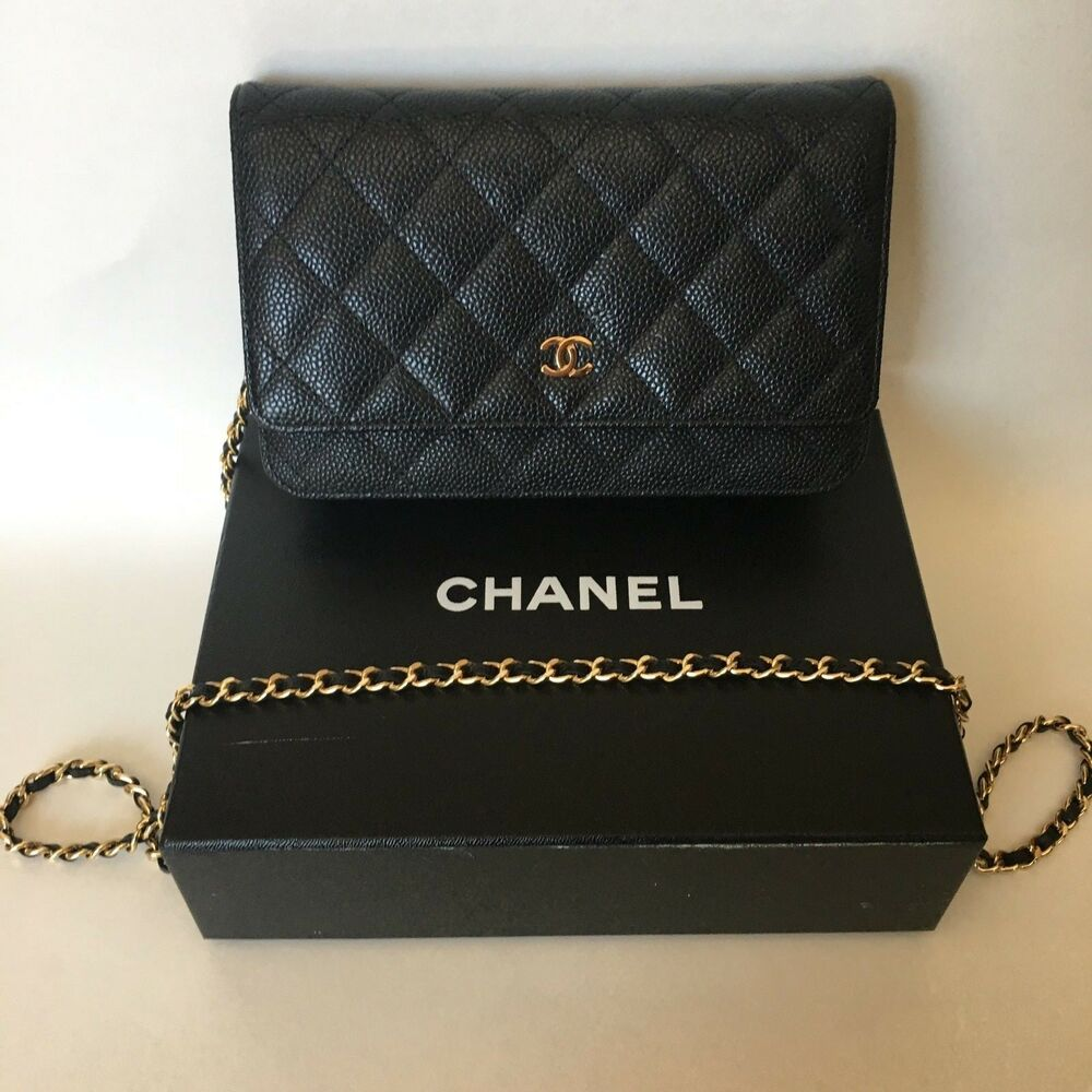584e99395408 Details about AUTHENTIC Chanel Wallet on Chain Black Caviar Leather with  Gold Hardware