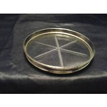 30 Vintage Sterling Silver and Cut Star Pattern Crystal Coaster.