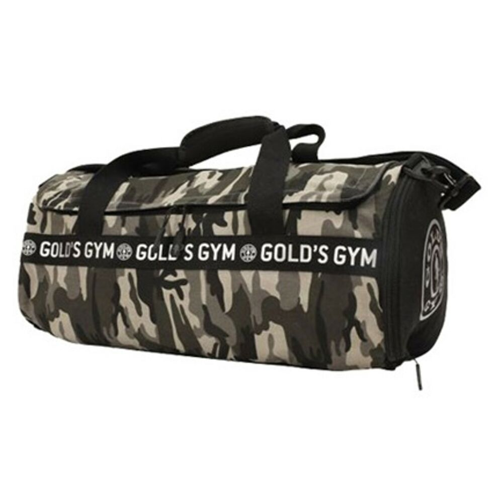 78d87a948c61a9 Details about Gold's Gym Grey Camo Barrel Bag - Ideal for Fitness Sports  Exercise & Travel