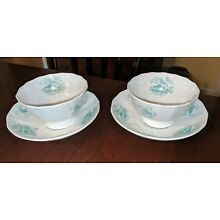 Pair Antique Staffordshire Cups & Saucers Green Transferware 19th Century