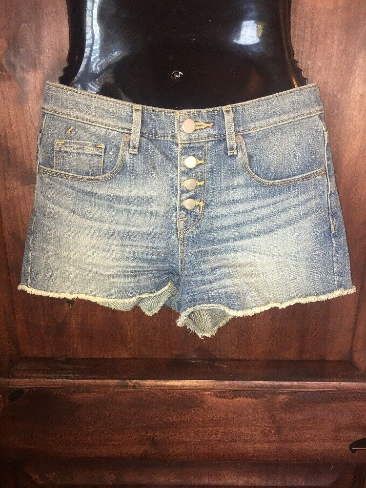 e69ea7c1 Details about Mossimo Target denim high waist cut off button fly stretch jean  shorts size 2