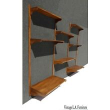 Vintage Danish Mid Century Modern Eight Shelf  Wall Unit Bookcase w 2 Desks