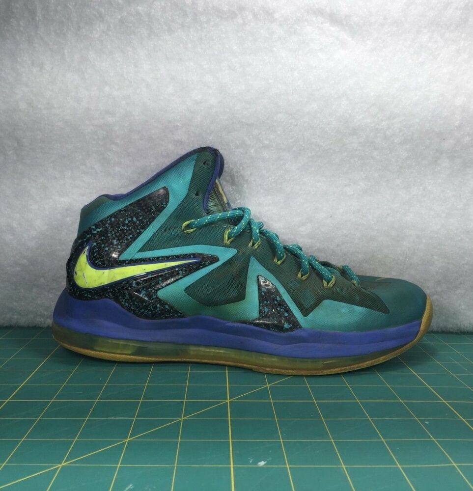 4269fae7b40 Details about Nike Lebron X 10 P.S. Elite Teal Blue Basketball Shoes  Sneakers~Men s Size 7.5