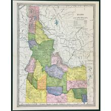 IDAHO MAP, 1904 by Americana Co. Bormay. Original, Vintage and Old; Physical