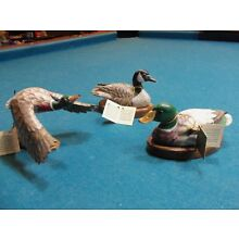 Hand Carved Wood Painted Ducks, John Madison Statues, Lot Of 3