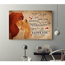 The Lion King To My Wife Love You Husband Horizontal Canvas 8-20 Inches No Frame