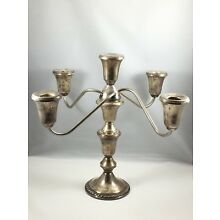 Duchin Creation Sterling Silver 5-Candle Candelabra Weighted Candle stand holder