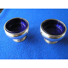 Pair of sterling silver and cobalt glass master salts by Frank Whiting