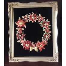 JEWELRY FRAMED ART, POINSETTIA CHRISTMAS WREATH, Red Gold Brooches, 8x10