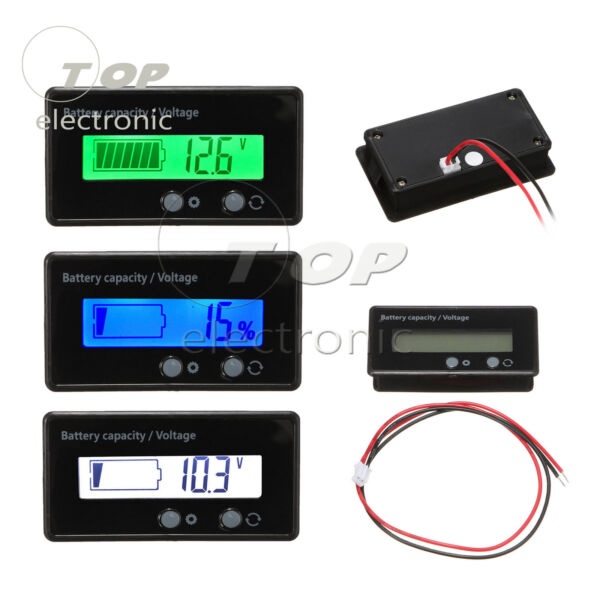 12V 6-63V LCD Acid Lead Lithium Battery Capacity Indicator Digital Voltmeter