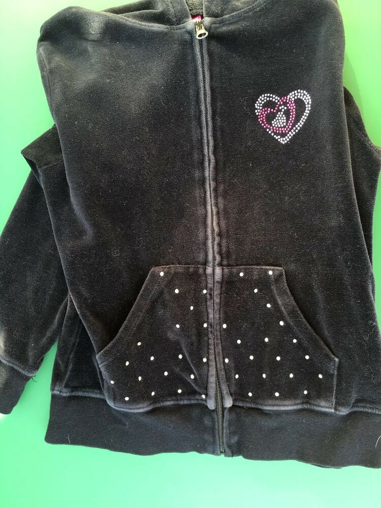 c10aa583590 Details about Girls Black Velour Star Ride Hoodie Jacket with Bling - Size  10-12