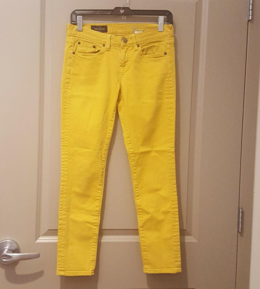 a00cf4e30be6 Details about J.Crew Womens Toothpick Sz 26 Ankle Jeans Denim Mustard Yellow  Stretch