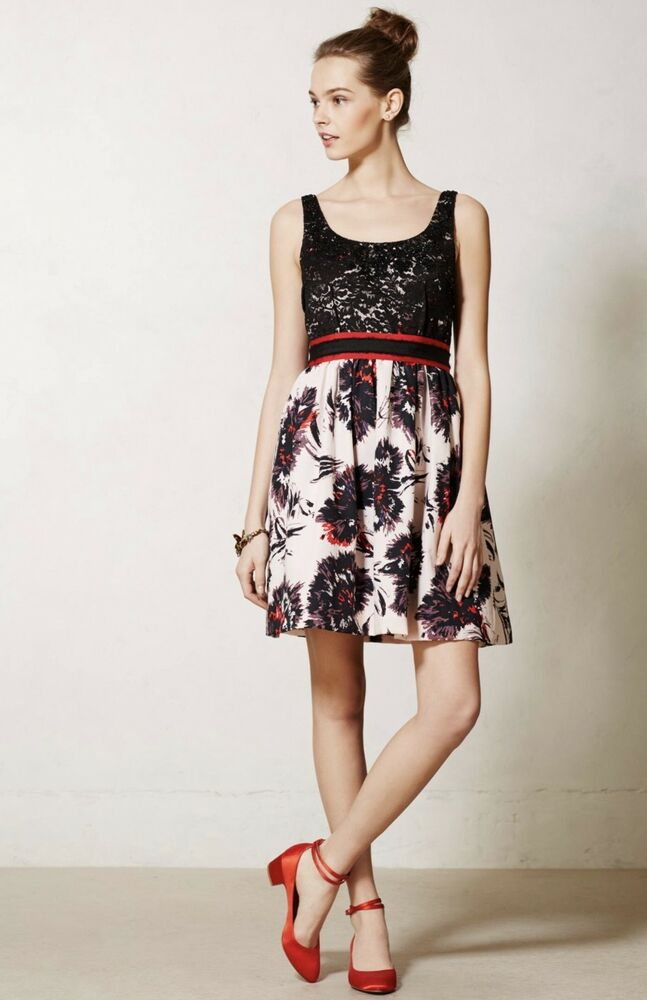 7e8a983769c4 Details about NEW Peter Som black pink Lace Floral Fit Flare Bougthat Anthropologie  Dress P 6