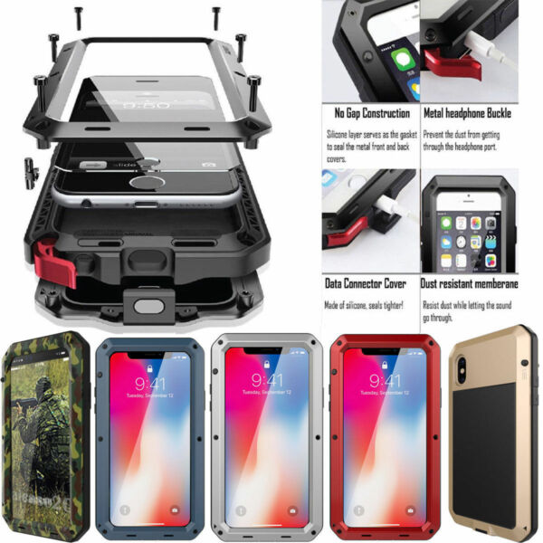 HEAVY DUTY Aluminum Metal Waterproof Case Cover iPhone XS Max XR X 8 6 6s 7 Plus
