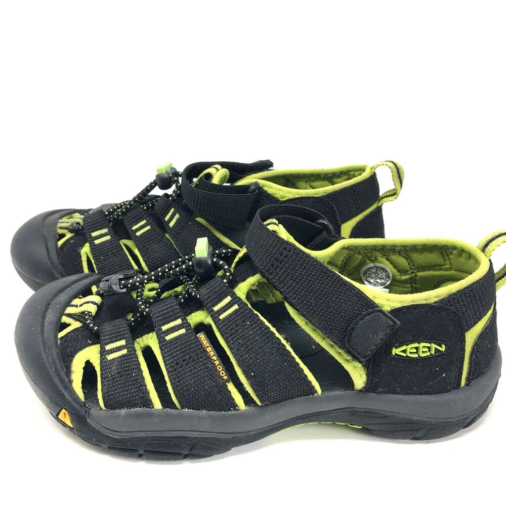 1e59d216a9 Details about Keen Newport H2 Sandals Black Lime Green Shoes Youth Boys  Girls MINT Sz 2Y