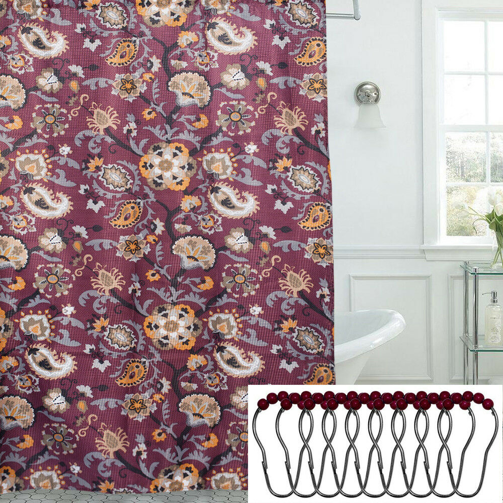 Details About Floral Paisley Print 13 Piece 70 X 72 Shower Curtain And Roller Hooks Set