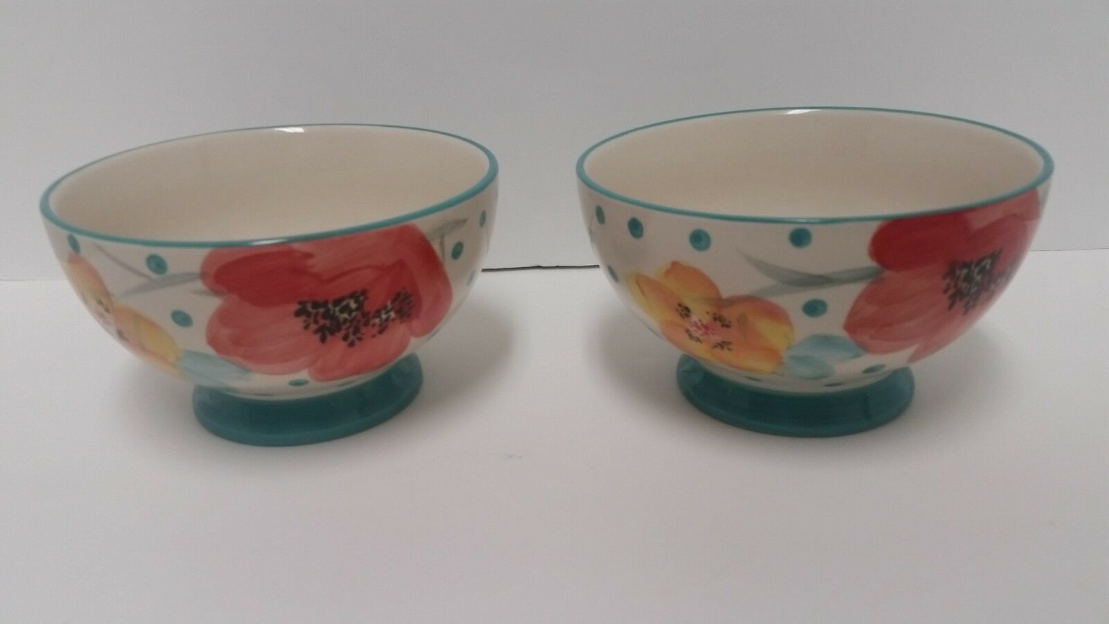 """Pioneer Woman Stoneware Flea Market Vintage Bloom Turquoise 6/"""" Footed Bowls TWO"""