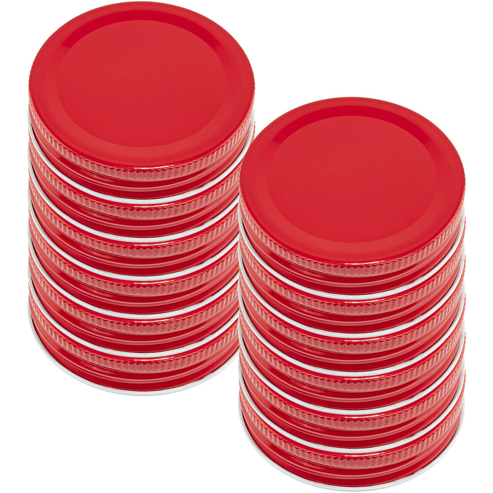 Red Mason Jar Lids Set Of 12 Small Mouth Silicone Leak