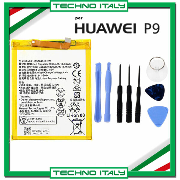 BATTERIA PER  HUAWEI P9 P10 P20 LITE - P SMART 3000mah PARI ALL' ORIGINALE+ KIT