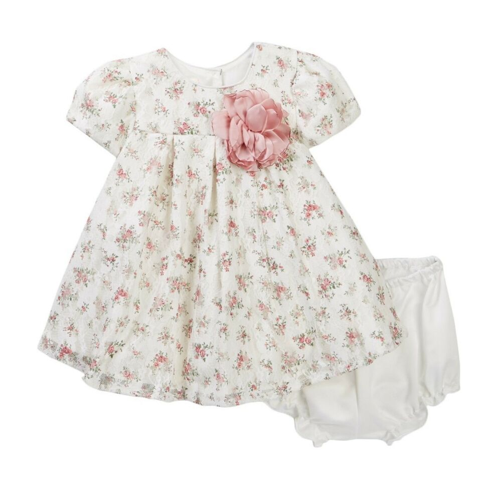 3bea243483f3c Details about LAURA ASHLEY baby girls lace DRESS & PANTIES tiny floral  print 9/12M (80cm) BNWT