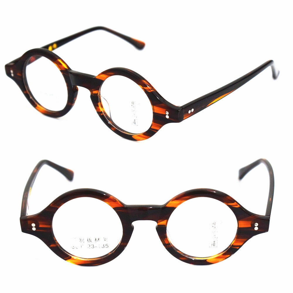 9f86285e2a Details about Vintage Small 36mm Round Tortoise Acetate Eyeglass Frames  Full Rim Glasses