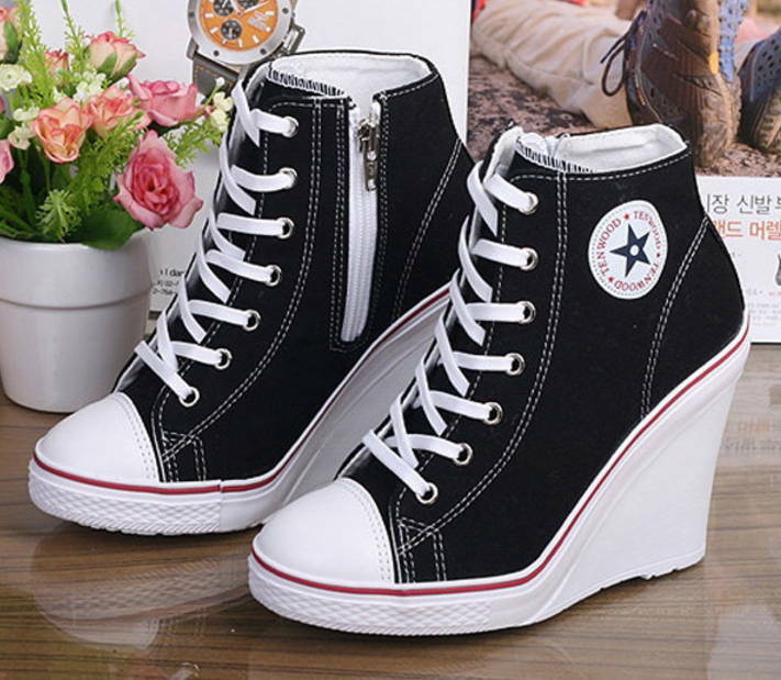 c34bb37c3cc Details about New Women Casual High Top Canvas Wedges Shoes High Heel Lace  Up Sneakers Shoes