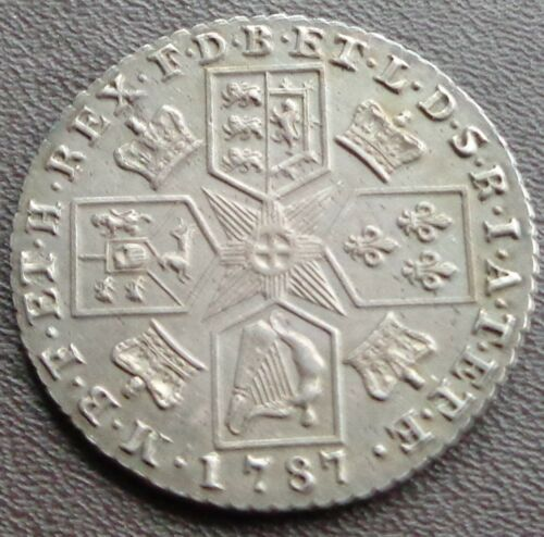 1787 George III Milled Silver Shilling, No Hearts, A/UNC