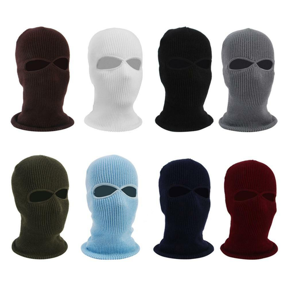 e398040836af8 Details about Knit 2 Hole Ski Mask BALACLAVA Hat Full Face Shield Beanie  Cap Snow Winter Blue