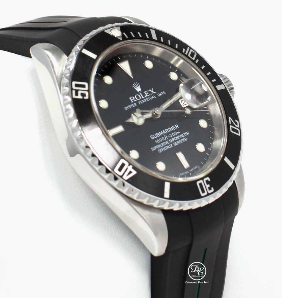 bd6064c5d69 Rolex Submariner 16610 Date Stainless Steel RUBBER B Band Watch 2007 PAPERS  MINT